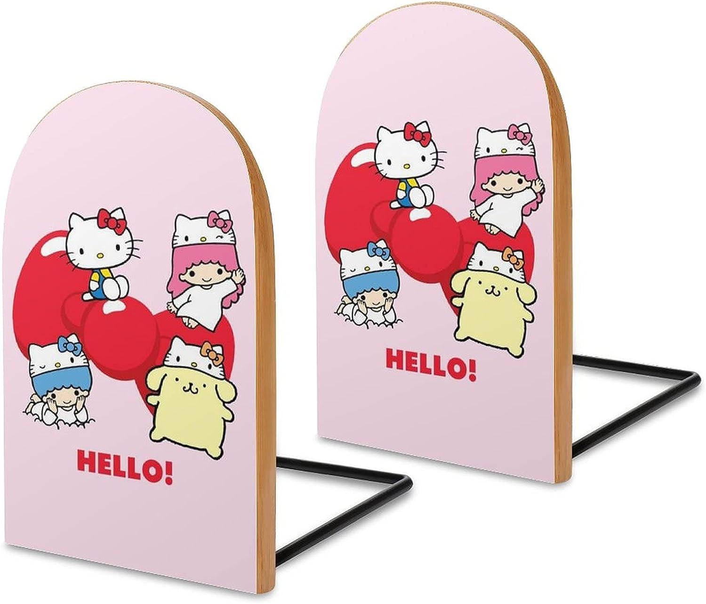 Ranking TOP13 KRISMARIO Hello free Kitty Pink 2pcs Wood Modern Bookends Heavy Logs