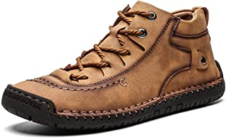 Loosnow Men Snow Boots Warm Shoes Non-Slip High Top Sneakers Breathable for Winter Outdoor Brown