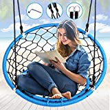 """Serenelife Hanging Netted Seat Swing - 35.5"""" Inch Kids Indoor Outdoor Yard Round Circle Saucer Swing for Trees or Swing Sets - All Season UV Resistant Rope Swing Net Seat - SLSWNG125"""