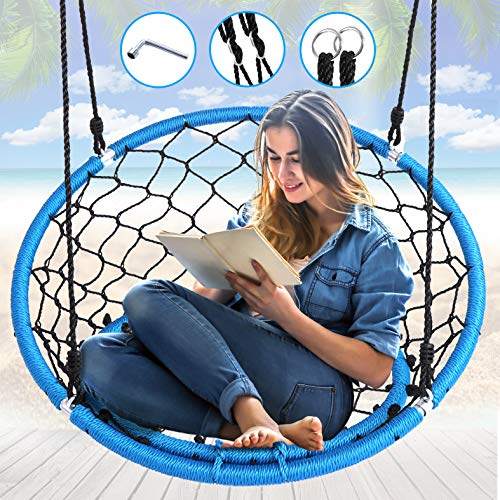 Serenelife Hanging Netted Seat Swing  355quot Inch Kids Indoor Outdoor Yard Round Circle Saucer Swing for Trees or Swing Sets  All Season UV Resistant Rope Swing Net Seat  SLSWNG125
