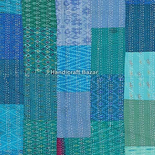 Handicraft Bazar r - Colcha de algodón para Halloween, colcha de patola, 258 x 226 cm, colcha Kantha, colcha de algodón, manta de Kantha, tejida a mano, diseño de cachemira, juego de ropa de cama