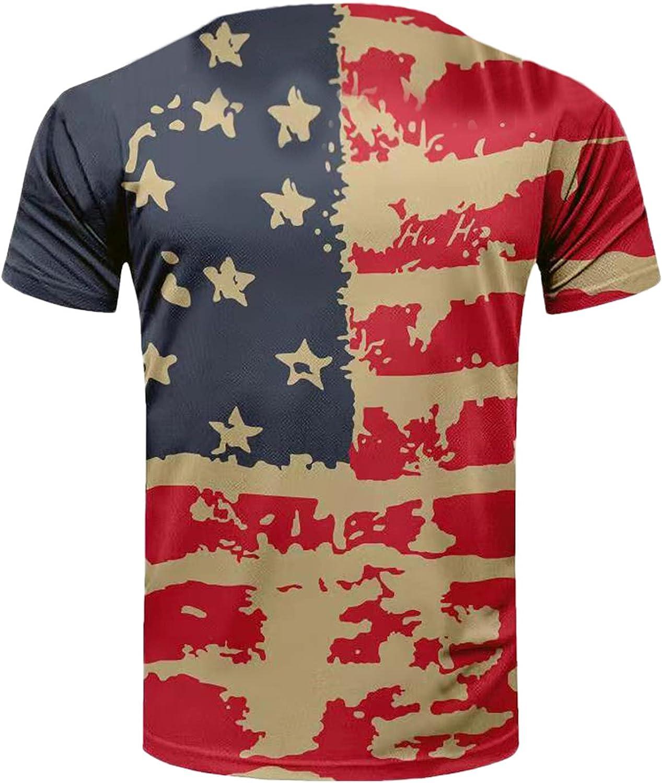 JINGNUO Men's American Flag Shirts Patriotic USA Red White and Blue Hawaiian Shirts