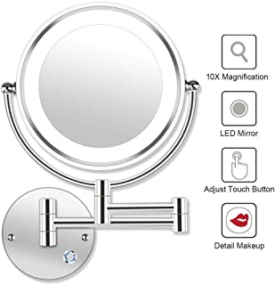 Lighted Makeup Mirror 10x Wall Mounted Shaving Mirrors Magnifying with Dimmable Lights, Bathroom Mirror with Lights and Magnification, Touch Screen, UK Plug