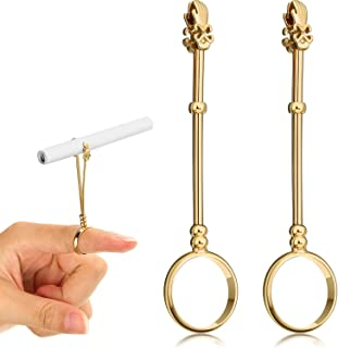 2 Pieces 0.67 Inch Cigarette Holder Ring, Finger Cigarette Holder Ring, Elegant Cigarette Holder Ring, Lady Smoker Cigarette Holder Ring, Cigarette Holder for Women and Men (Gold)
