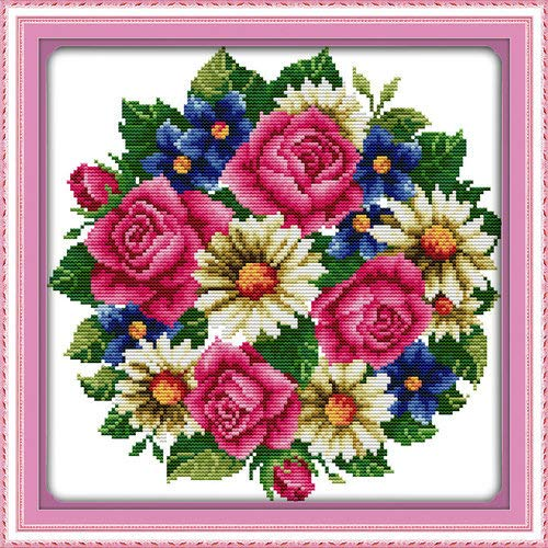 """Joy Sunday Cross Stitch Kits,Flower Style,All Flowers Bloom Together-Rose,14CT Stamped, 31cm×31cm or 12.09""""×12.09"""""""