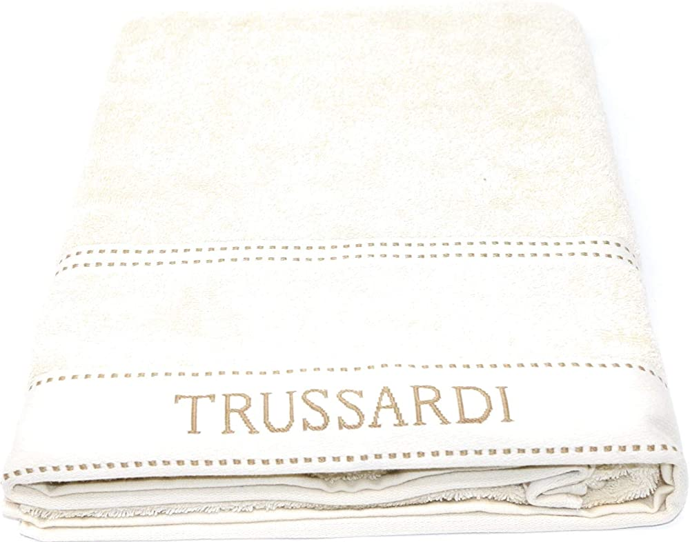 Trussardi home linen ,telo bagno in pura spugna idrofila,100% cotone, telospugna Ivory 810