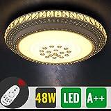 HG 48W Dimmbare Kristalllampe Deckenleuchte LED für Wohnzimmer mit Fernbedinung 4000 Lumen Rund Schlafzimmer Kristall Küchen Lampe[Energieklasse A++]