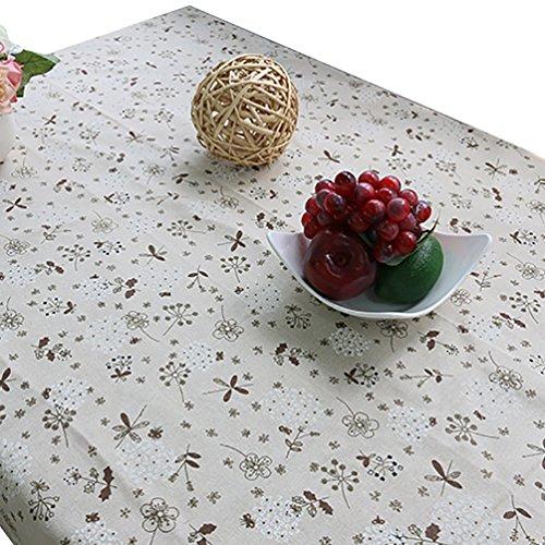 NiSeng Nappe Decorative Floral Imprimé Nappes Coton Lin avec Dentelle Anti Taches Nappe pour Table rectangulaire d carrée Gris 140x220 cm