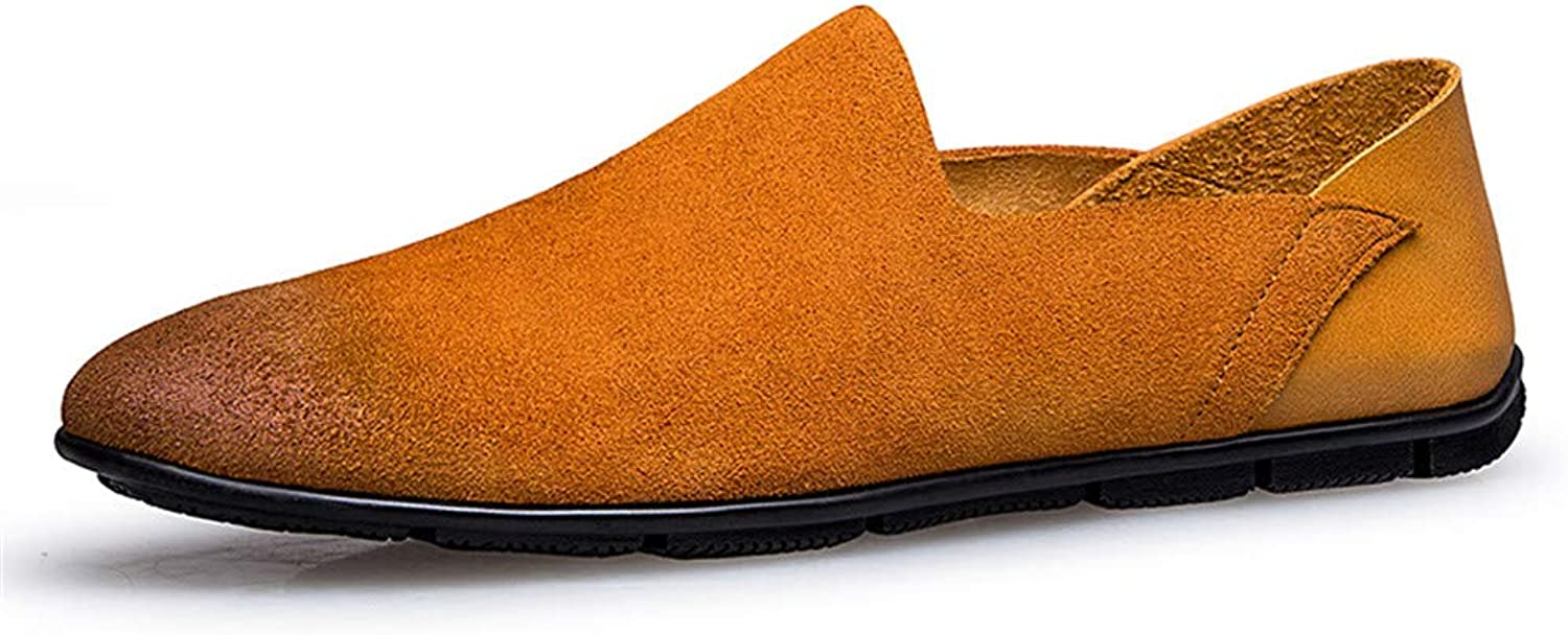 CHENXD shoes, Men's Fashion Genuine Leather shoes Slip on Casual Loafers shoes