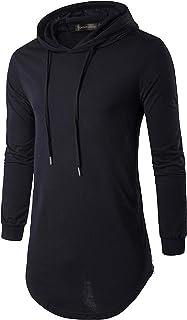 Sportides Men's Fashion Longline T-Shirt Long Sleeve Hoodies Tee Top JZA062