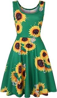 HTHJSCO Women's Sleeveless A line Waistline Midi Dress Casual Flared Tank Dress