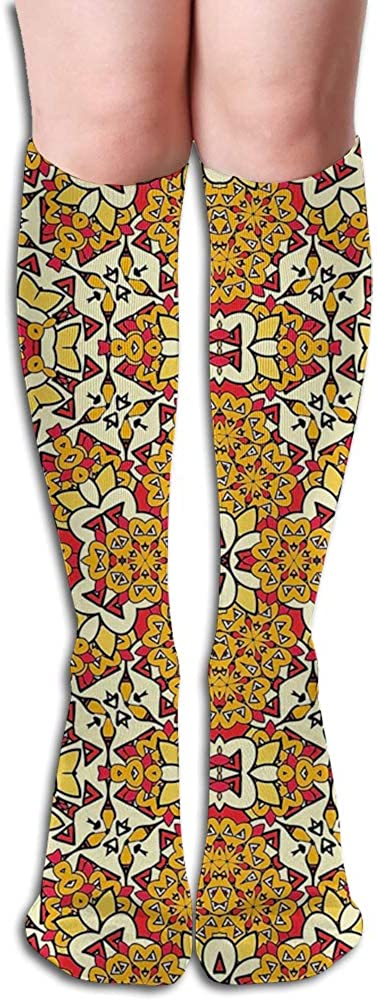 Men's and Women's Funny Casual Combed Cotton Socks,Geometric Unusual Motifs with Folkloric Art Elements Concentric
