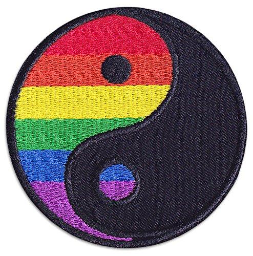 Rainbow Yin & Yang Aufnäher Aufbügler Patch Tao Mädchen LGBT Sommer Party Festival