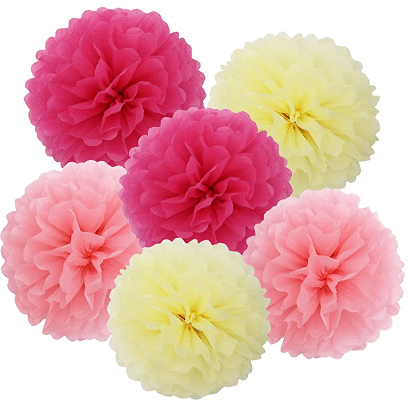 SOOKOO 15 Pieces 10 inch Tissue Paper Pom Poms Flower Balls Assorted Colors For Wedding Party Outdoor Decorations, Pink, Cream, Rose Red