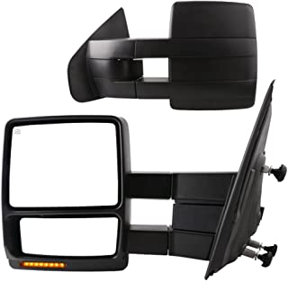 YITAMOTOR Towing Mirrors Compatible for Ford F150 Power Heated with LED Signal and Puddle Light Tow Mirrors (Pair Set), for 2007-2014 Ford F150 Series Pickup
