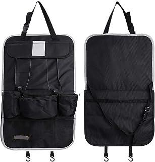 Auto Rückenlehnenschutz Utensilientaschen Organizer   Große Aufbewahrungstasche für Reisezubehör und Spielzeug mit Tablet Halter für Kinder, Rücksitzbezug, Trittmatten (2 PACKS)