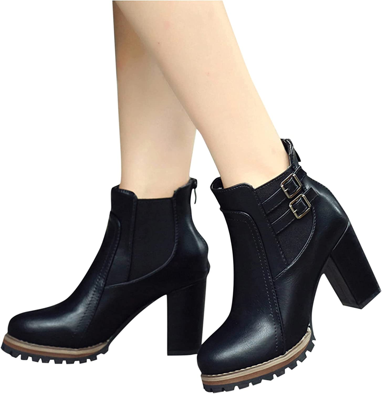 soyienma Boots for Women,Womens Pointed-Toe Platform Boots Zipper Up Buckle Boots Ankle Short Booties Casual Fashion Boots