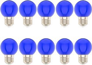 Pack de 10 Bombillas Colores Led E27 1W Para la Boda del Partido de Navidad de Halloween Bar Mood Ambiente Decoración(Azul)