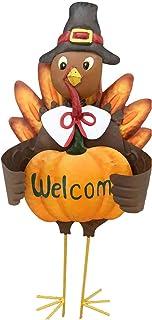YUMBOR Rainbow Handcrafts Hand-Painted Thankgiving Fall Harvest Metal Turkey Stake Pumpkin Welcome Sign 23''H, Fall Harvest Thanksgiving Home Garden Patio Lawn Décor