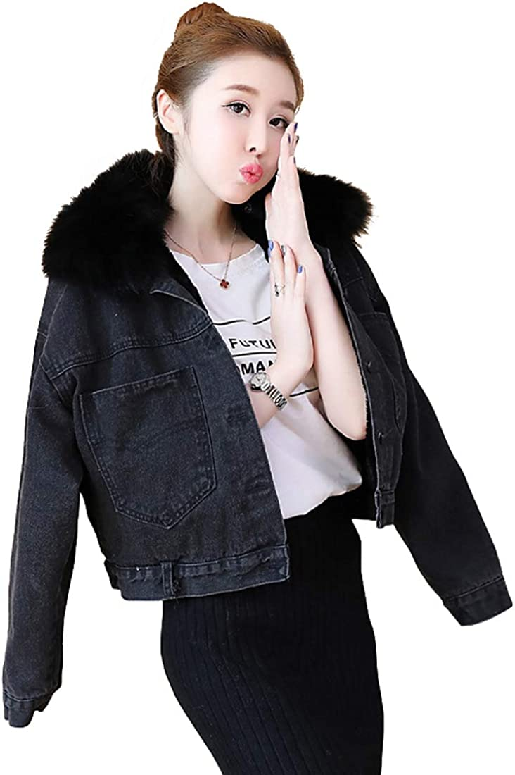 utcoco Womens Insulated Fleece Sherpa Lined Faux-Fur Collar Pockets Short Denim Jean Jacket