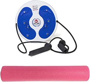 Wan Tong Twisting Panel with Pull Rope for Waist Exercises, MF019 With Yoga Mat , Pink , Mf116-3-Pi1