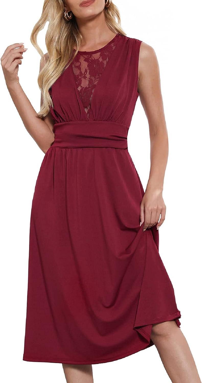 LIUMILAC Women Sleeveless Lace Aline Dress Round Neck Ruched Party Midi Dress