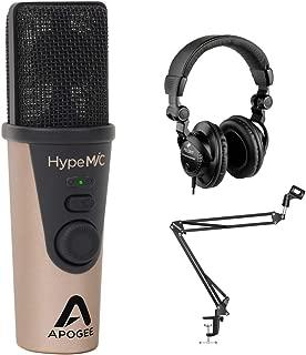 Apogee Electronics HypeMiC USB Cardioid Condenser Microphone with Polsen HPC-A30 Studio Headphones & Mic Boom Scissor Arm Stand Bundle