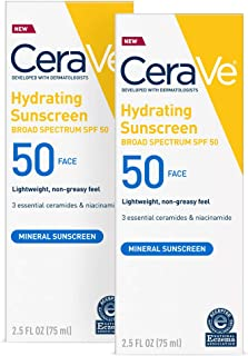 CeraVe 100% Mineral Sunscreen SPF 50 | Face Sunscreen With Zinc oxide & Titanium Dioxide for Sensitive Skin | 2.5 Oz, 2 Pack