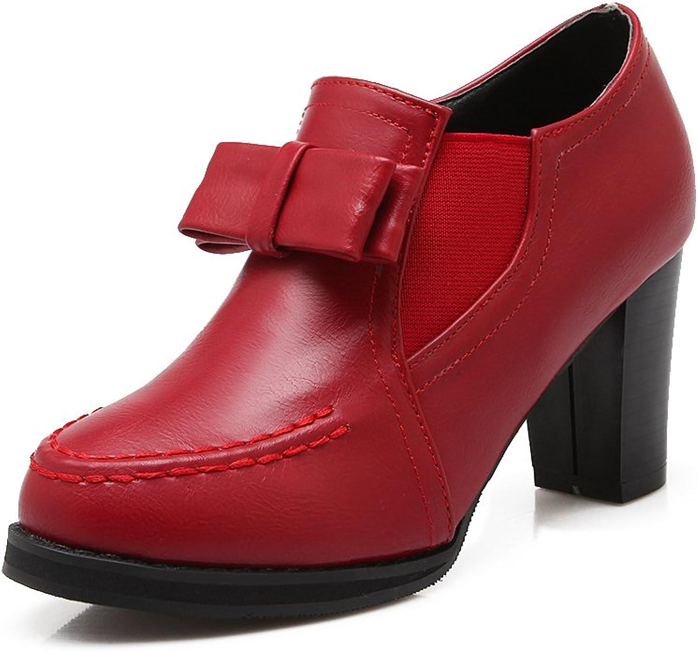 AIWEIYi Womens Thick High Heel shoes Round Toe Sweet Bow Platform Dress Pumps Beige