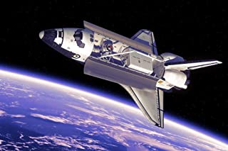 Space Shuttle in Space Orbiting Earth Bay Doors Open Rendering Photo Cool Wall Decor Art Print Poster 36x24
