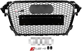 Gorgeri Car Front Bumper Grille,Sport Hex Mesh Honeycomb Hood Gloss for A4/S4 B8.5 13-16,RS4 Style(for RS4 Style)