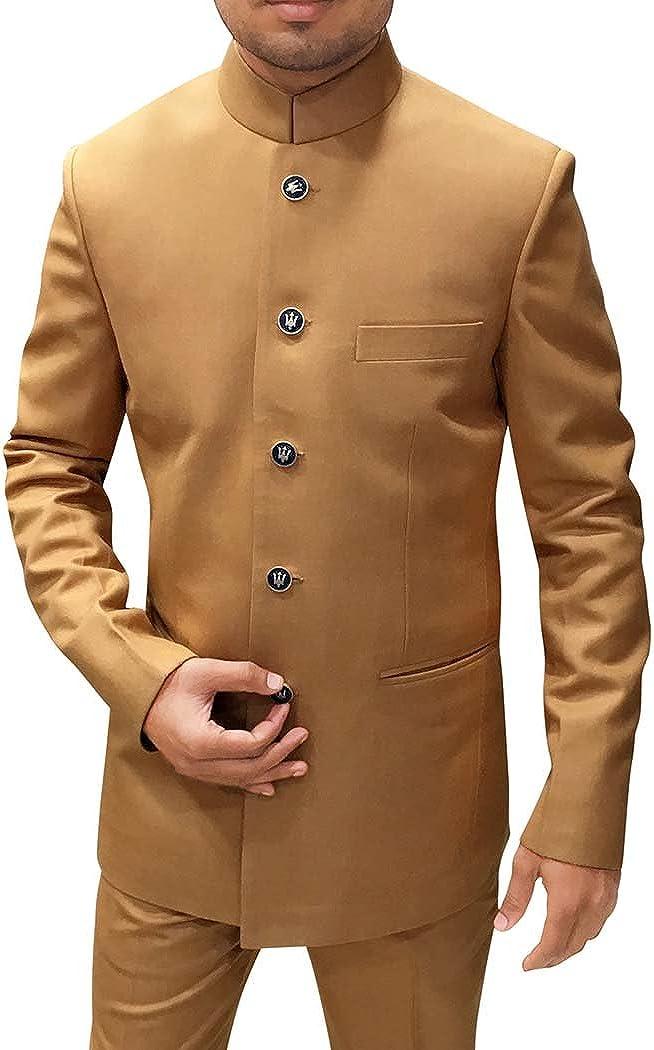 INMONARCH Mens Tan Color Polyester 2 Pc Jodhpuri Suit Wedding JO503