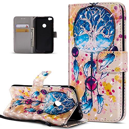 Kompatibel mit Huawei P8 Lite 2017 Hülle,3D Bunte Gemalte Schmetterlings PU Lederhülle Flip Ständer Wallet Handy Hülle Tasche Handy Tasche Schutzhülle für Huawei P8 Lite 2017,Bunte Feder Campanula