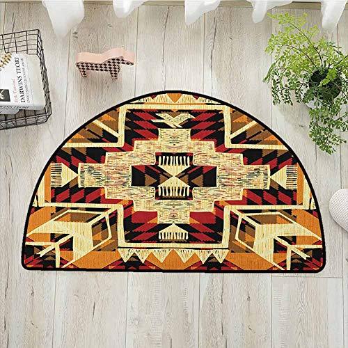 Arrow Semi-circular Living Room Rug, Native American Inspired Retro Aztec Pattern Mod Graphic Design Boho Artwork, Bath Mat Shower Rug Bedroom Carpet Floor Mats, W23.6 x R15.7 Inches Red Orange Yellow
