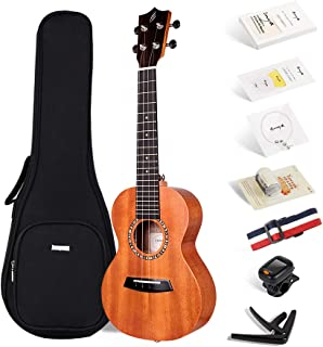 Enya Concert Ukulele 23 Inch Mahogany Beginner Ukulele – With Starter Kit includes Online Lessons, Padded Case, Extra Strings, Tuner, Strap, Capo, Picks, Fingershaker, Polishing Cloth (EUC-200A)
