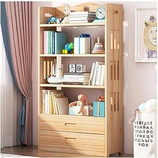 FEANG Pin Bookshelf Enfants Petites bibliothèques en Bois Signettes Debout sur Le Plancher de Rangement Dispositif de Stoc...