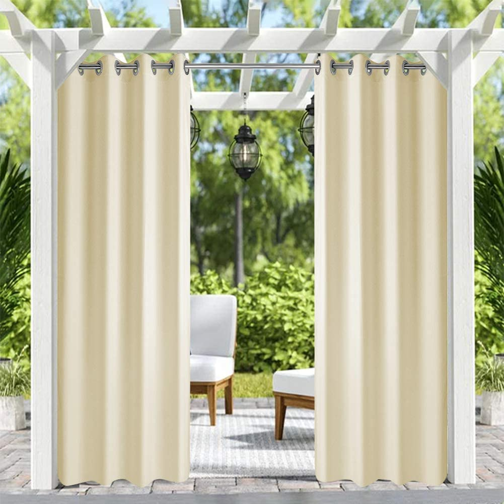 Pro Space Beige unisex Outdoor Curtains Easy to Hang I Free Shipping Cheap Bargain Gift on Summer Heat