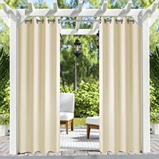 Pro Space Patio Outdoor Curtain UV Privacy Drape Thick Waterproof Fabric Heavy Duty Indoor Panel for Porch Balcony Pergola Lanai Canopy Tent Gazebo Window, 50 Inch Wide by 96 Inch Long, Beige