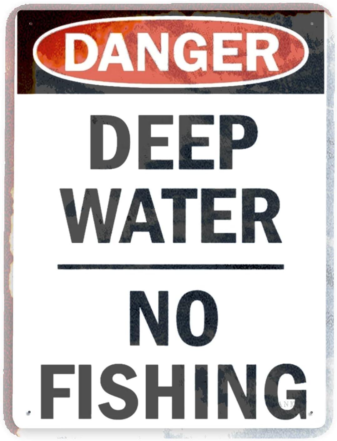 J.DXHYA Regular discount Man Omaha Mall Cave Decor 2 Pieces Sign Warning Fishing Danger D No