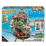 Hot Wheels City Super Dino Robot Garage avec T-Rex, pour contenir jusqu'à 100 petites voitures, plusieurs étages et modes de jeu, jouet pour enfant, GJL14