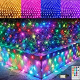 RGB Net Lights, Outdoor LED Mesh Lights, 14.8x4.9ft 240 LED Christmas Net Light Decorations Clearance, Connectable Plug in Waterproof Tree Lights, Bushes, Wedding, Garden Decorations Color Changing