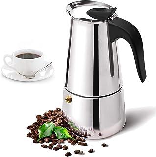 300ML Stainless Steel Moka Espresso Coffee Pot Maker Percolator Stovetop Latte Cappuccino Italian Spanish Coffee (Silver, ...