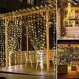 SUNNEST LED Lichterketten Lichtervorhang 300 LEDs USB Vorhanglichter String Light 8 Modi mit Fernbedienung Timer IP68 für Deko Innenbeleuchtung Warmweiß - 5