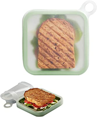 Bento Box, Sandwich Toast Case Silicone Lunch Box, Leakproof Soft sealed Lunch Box for Kids School Office
