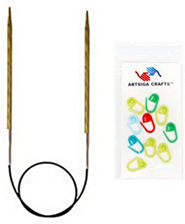 Knitter's Pride Knitting Needles Dreamz Circular 9 inch (25cm) Size 2.5 (3.0mm) Bundle with 10 Artsiga Crafts Stitch Markers 200165