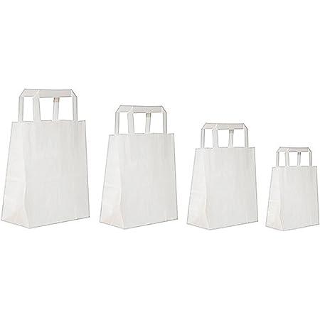 250 Papier-Tragetaschen mit Henkel weiß Papierbeutel Papiertüte versch Größen
