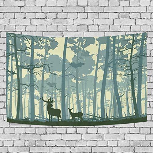 JXZIARON Tapiz Art Paño para Colgar en la Pared Impresión HD Cocina Dormitorio Sala de Estar Decoración,Fondo Exclusivo de Ciervo Salvaje en el Bosque con árboles Gigantes para 60 x 40 Pulgadas