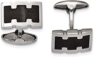 Lex & Lu Chisel Stainless Steel Brushed Black IP Plated Cuff Links LAL38535