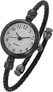 Top Plaza Womens Fashion Analog Quartz Bangle Cuff Wrist Bracelet Watch Elegant Stainless Steel Wire Band Arabic Numerals Dress Watches 6.8 Inches - Black Tone White Dial