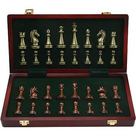 チェスセット、ラージメタルデラックスチェスレトロ銅メッキ合金チェスアダルトセットボードゲームポータブル木製ボックス収納折りたたみチェスセット、大人用チェスボードゲーム